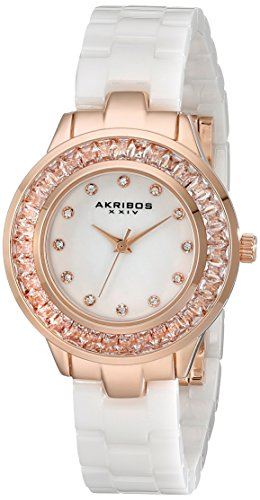 Akribos XXIV Women's AK781WTR Crystal Baguette Quartz Movement Watch with White Mother of Pearl Dial and Ceramic Bracelet