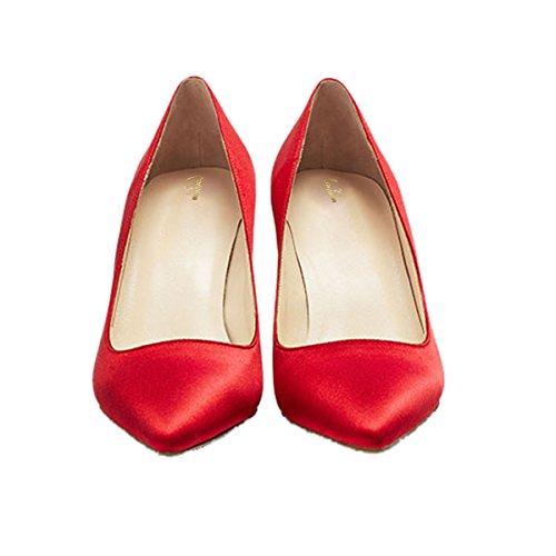 Per Pompe Qian Ufficio Formato Punta Grande Donne Semplici Comodità Appuntito Stiletti Delle Rosso Alti Superficiale Tallone Zulian 6wr67qCc