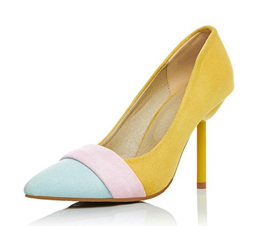 Femme Jaune Nubuck Escarpins Multicolore Cheville Elégant Aisun vdqYZZ