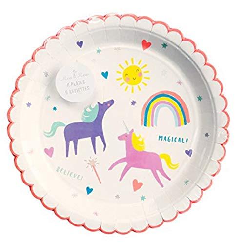 Meri Meri Rainbow & Unicorn Small Plate, Set of 8 Plates