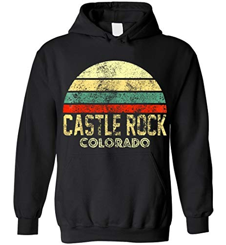 Castle Rock CO Colorado Vintage Retro Sunset Blend Hoodie Black (Colorado Rock Store Castle)
