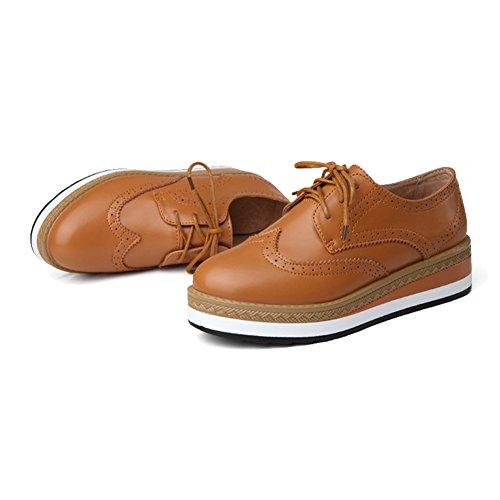Kvinners Plattform Oxfords Skoene Snøre På Flat Hulling Komfort Uformell Sneaker Brun
