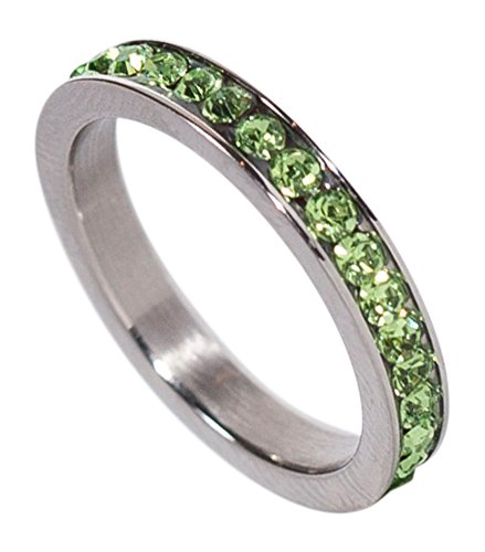 Peridot Kids Ring (Birthstone Eternity Ring~August~Stainless Steel~Cubic Zirconia CZ Band~Peridot~Light Green Crystals~Stackable~Mother's Ring~Children's Ring~Women's Jewelry (3))