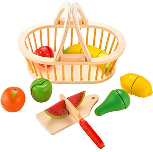 Cutting Fruit Set - Pretend Toy Set With Basket Wooden Cutting Fruits Basket Play Food Toy Sets for Kids ( 18 Pieces) By KIDS TOYLAND
