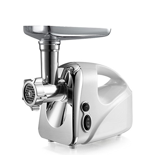 Yongtong Kitchen Meat Grinder, Stainless Steel Cutting Blade Electric Meat Mincer with Grinding Plates, Sausage Maker, Meat Chopper, Food Pusher Residential & Commercial Appliance, 110V 1600W (Silver)