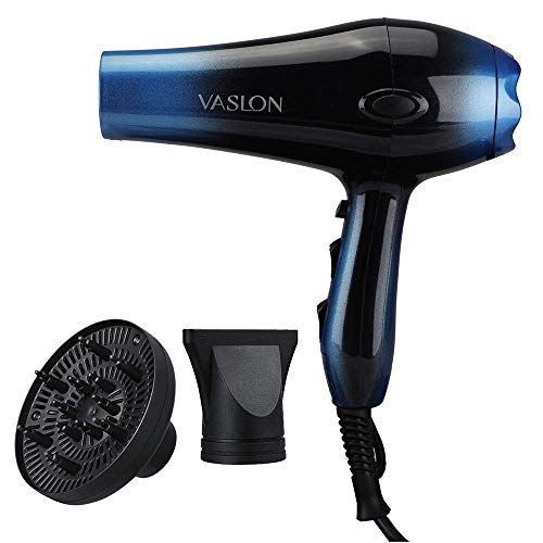 VASLON 1875W Professional Hair Dryer,Nano Ionic Blow Dryer Professional Salon Hair Blow Dryer Fast Dry Low Noise,with Concentrator, Diffuser, 2 Speed and 3 Heat Setting Blue