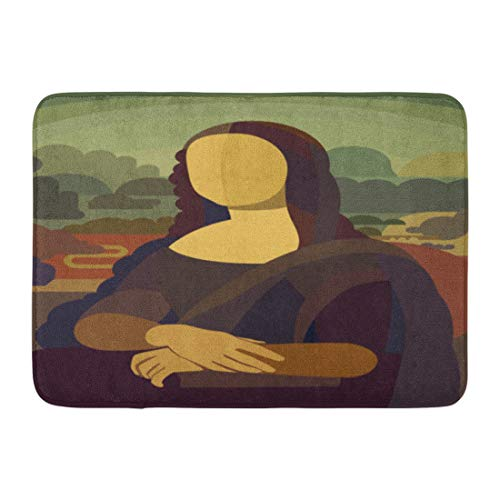 Lisa Smile Painting Mona - Aabagael Bath Mat Smile Renaissance Painting Mona Lisa in Simple Flat Style Conceptual Famous Vinci Bathroom Decor Rug 16
