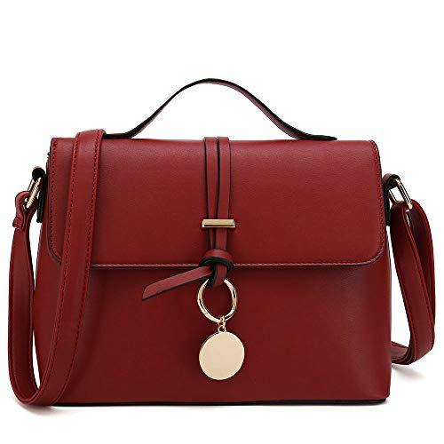Stylish Cross Body Purses For Women Fashion Shoulder Bag Ladies Designer Handbag (Burgundy)