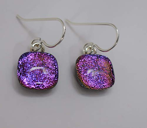 Petite Magenta Pink Purple fused dichroic glass dangle earrings sterling silver ear wires #253 ()
