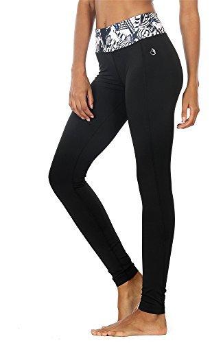 icyZone® Damen Sport Yoga Leggings mit breitem Bund (Butterfly, XL)