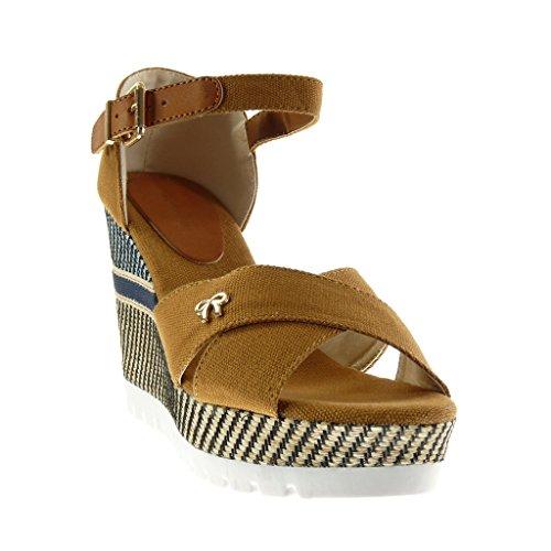Angkorly - Zapatillas de Moda Sandalias Mules zapatillas de plataforma Mary Jane suela de zapatillas mujer trenzado bordado tanga Talón Plataforma 10.5 CM - Camel