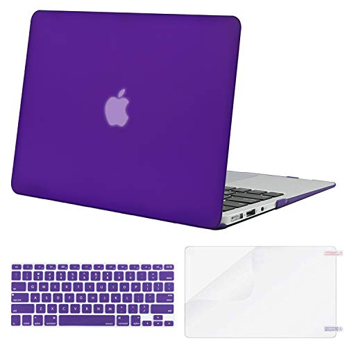 MOSISO Plastic Hard Shell Case & Keyboard Cover Skin & Screen Protector Only Compatible with MacBook Air 11 inch (Models: A1370 & A1465), Ultra Violet
