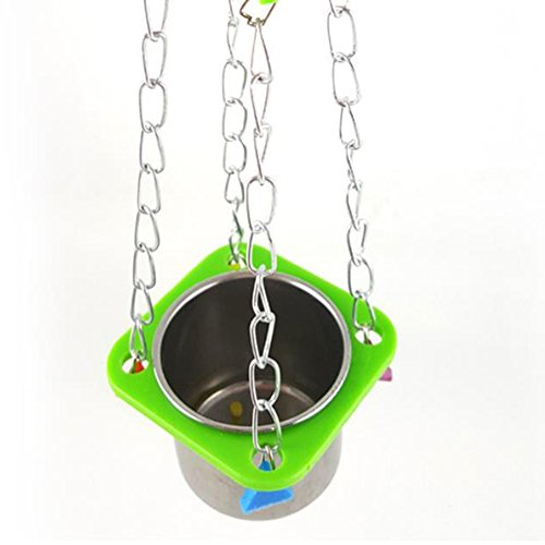 Da.Wa 1Pcs Birds Basin Colorful Acacia Parrots Hanging Food Basin Feed Bowl Swing Cage Toys for Parakeet by Da.Wa (Image #4)