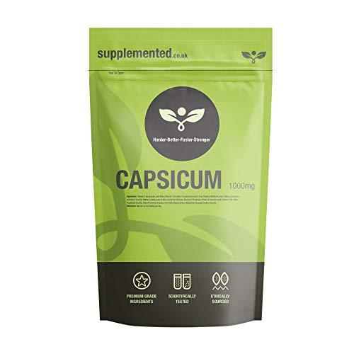 Capsicum 1000mg 180 Capsules UK Made. Pharmaceutical Grade – Thermogenic Diet Pills, Fat Burner, Weight Loss Supplement