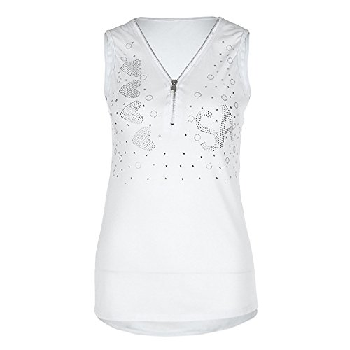 Big Women Vest Daoroka Ladies Plus Size V-Neck Sleeveless Sequined Zipper Solid Tunic Tank Tops Blouse Casual Loose Fashion Comfort T-Shirt