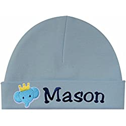 cfba2fe6f89 Personalized Embroidered Baby Boys Keepsake Hat with Elephant From Funny  Girl Designs YOUR TEXT (BLUE