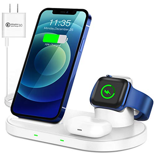 WAITIEE Wireless Charger 3 in 1 Stand for iPhone 12 and iWatch Series 6/5/4/3/2/1 AirPods pro, Fast Charging Dock iPhone 12/11/11 Pro/ 11 Pro Max/XS/XR/X/8/8 Plus