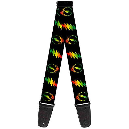 Buckle-Down 2 Inches Wide Guitar Strap - Steal Your Face w/Lightning Bolt Repeat Black/Rasta (GS-WGD018)