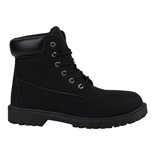 Stiefelparadies Gefütterte Herren Worker Boots Outdoor Schuhe Schnürstiefel Flandell Schwarz Autol