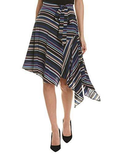 Nicole Miller Women's Flight Stripe Asymmetrical Skirt, Multi, M ()
