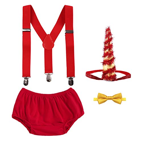 OBEEII Christmas Holiday Party Baby Toddler Boy Cake Smash Outfits Suspender Bottoms Tie Headband Dress Up Fancy Costume 4PCS Tree Set: Christmas Red ()