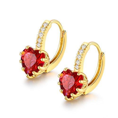 MASOP Gold Tone Fashion Jewelry Drop Huggie Hinged Hoop Earrings Leverback Heart Cut Red Cubic Zicronia (Heart Earrings Childrens Leverback)