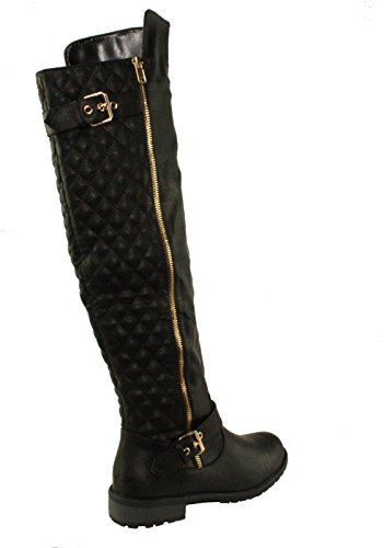 Forever Link Womens Quilted Zipper Accent Riding Boots (11, Black mango-41)
