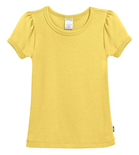 (City Threads Little Girls' Baby Rib Cotton Short Sleeve Puff Fashion Shirt Tee Tshirt Blouse, Yellow, 5)