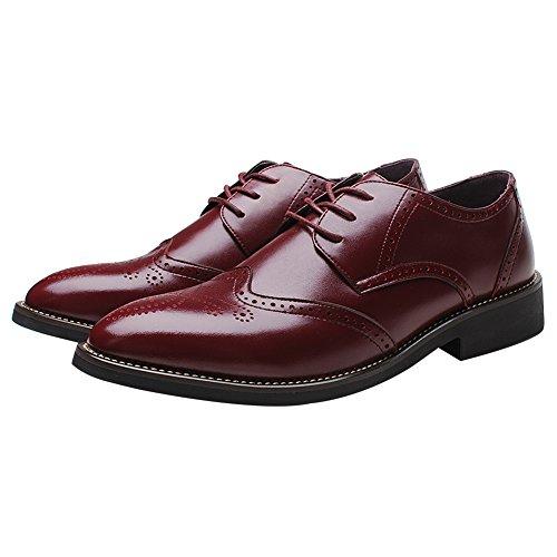 rismart Homme Mode Confortable Travail Espace Cuir Fendu Oxfords Chaussures 856 (Bourgogne,EU42)