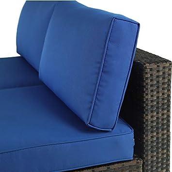 Royal Blue Cushions,2 Piece Outdoor Black Rattan Wicker Sofa Set Garden Patio Furniture Cushioned Sectional Loveseat