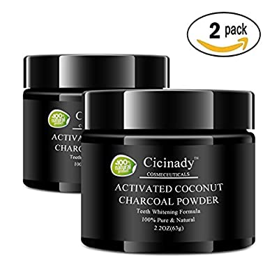 Food Grade Activated Charcoal Teeth Whitening Powder by Cicinady - 100% Natural Organic Coconut Active Charcoal Tooth Whitener Toothpaste Detox. Removes Stains & Promotes Oral Hygiene, Peppermint