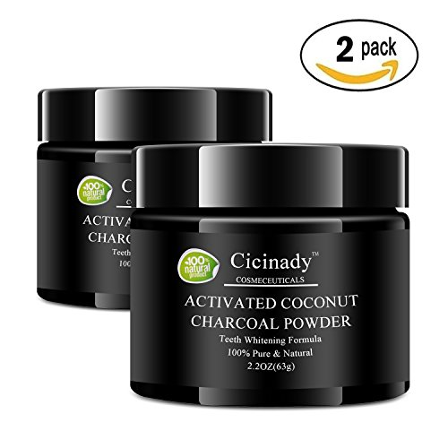 (Teeth Whitening Powder - 2 pack - Cicinady 100% Natural Pure Activated Charcoal Powder - Food Grade Coconut Charcoal Teeth Whitening Toothpaste and Stain Remover for Tooth)