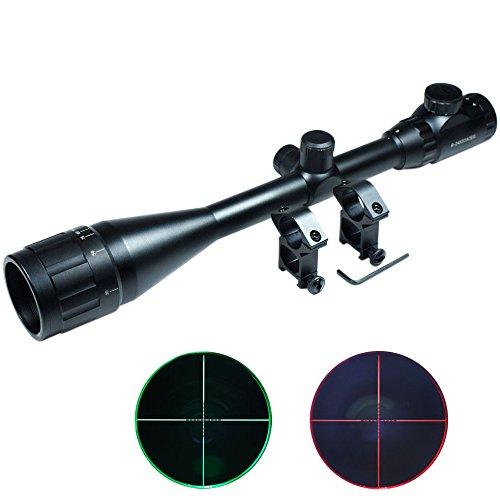 Lukher Hunting 6-24x50 AOEG Rifle Scope Red Green mil-dot illuminated Optical Gun Scope w/ Mount set