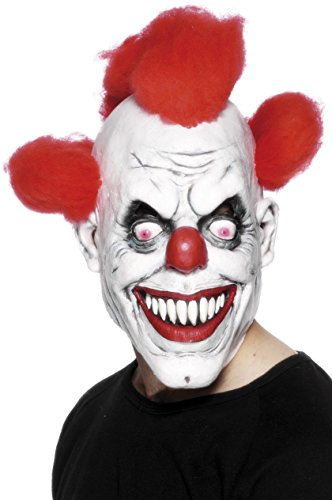 Cheap Scary Masks (Scary Red-Eyed Clown 3/4 Mask)
