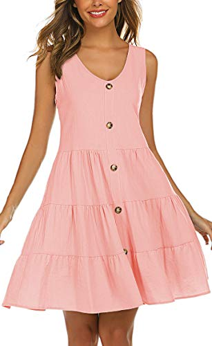 (Halife Womens Dresses Casual Pink, Summer Sleeveless Button Front Tiered Dress Pink L)
