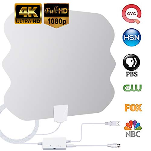 HDTV Antenna Amplified Indoor TV Antennas,130+Miles Long-Range Reception Indoor Digitial HDTV Antenna with Switch Amplifier Support 4K HD1080P UHF VHF Freeview Local TV Channels-16.5ft Coax Cable