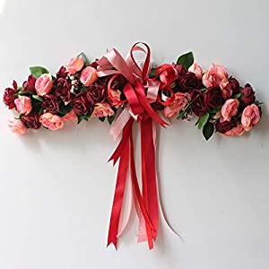 Artificial & Dried Flowers - Fake Silk Rose Flower Artificial Flowers Hanging Garland Wedding Wreath Heart Shaped Festival Party - Flowers Artificial Dried 5