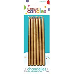 Gold Mini Taper Candles 12ct