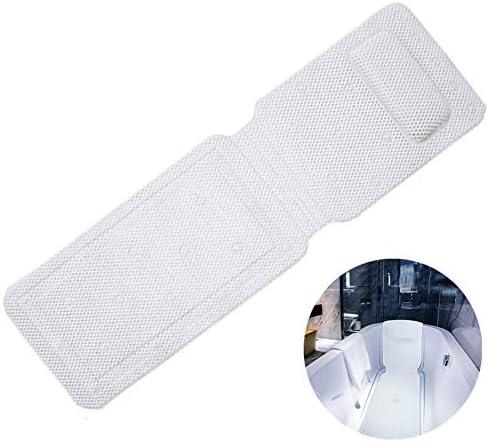 30個の吸引カップを備えた 浴槽滑り止めクッション-内蔵の防水スポンジ枕-超厚手の通気性3Dメッシュレイヤー-中空デザイン、柔らかい質感