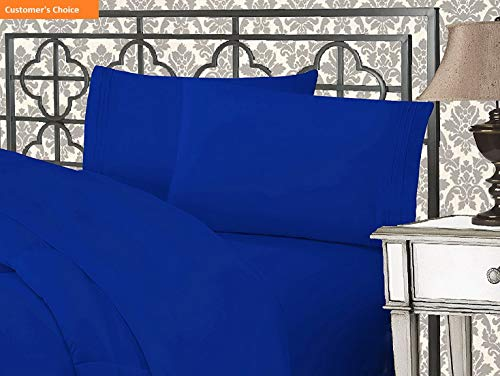 Mikash New Soft 1500 Thread Count Wrinkle & Fade Resistant Egyptian Quality Ultra Soft Luxurious 5-Piece Bed Sheet Set with Deep Pockets, Split King Royal Blue | Style ()