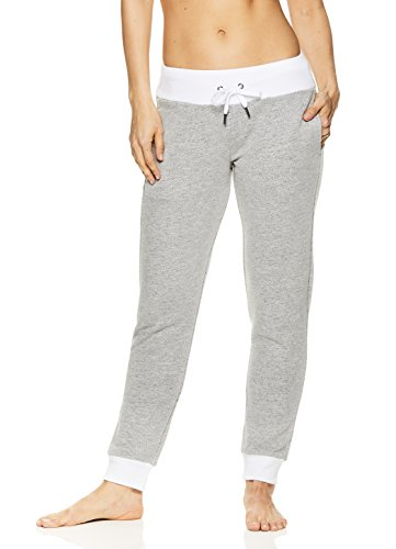 Nicole Miller Active Women's Confetti French Terry 7/8 Workout Track & Yoga Pants - Confetti Stark White, - Rise Sweatpants Low