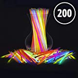 Glow Sticks Bulk Party Favors 200pk - 8' Glow in The Dark Party Supplies Light Sticks, Halloween, Camping, Glow Necklaces and Bracelets for Kids