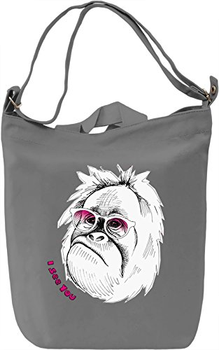 Funny Monkey Borsa Giornaliera Canvas Canvas Day Bag| 100% Premium Cotton Canvas| DTG Printing|