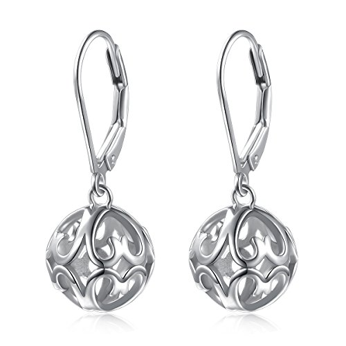 SILVER MOUNTAIN S925 Sterling Silver Heart Round Ball Dangle Drop Leverback Earrings for Women Girl Mother Sister Wife Gift by SILVER MOUNTAIN