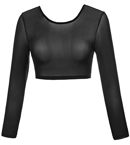Kate Kasin Women's Long Sleeve Slip-on Mesh Reversible Cropped Tops (S,0899#Black) ()