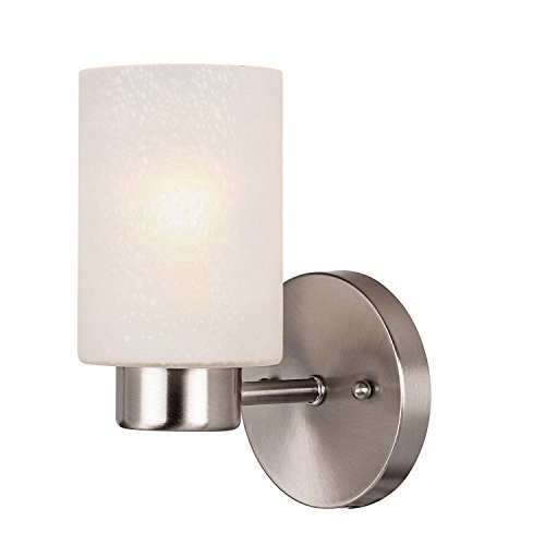 Cheap  One-Light Interior Wall Fixture, Brushed Nickel Finish with Frosted Seeded Glass
