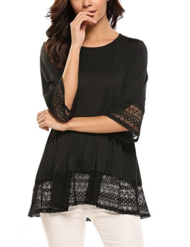 Unibelle Women's Casual 3/4 Flare Sleeve O Neck Lace Crochet Lace Loose Blouses T-Shirt Black XL (Tunic Crochet Top)