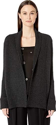 (Vince Women's Wide Collar Cardigan, Heather Carbon, Grey, Large)
