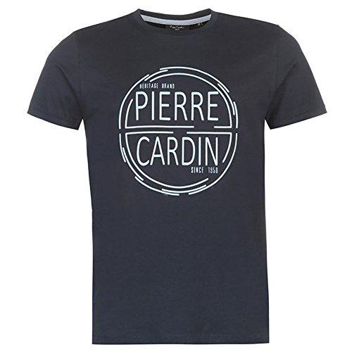 Imprimé 2xl Cardin Manches Pierre Courtes Signature Grand 100 Col Shirt En Multicolore Stock Navy Coton S Taille Classique Rond T vqaq4