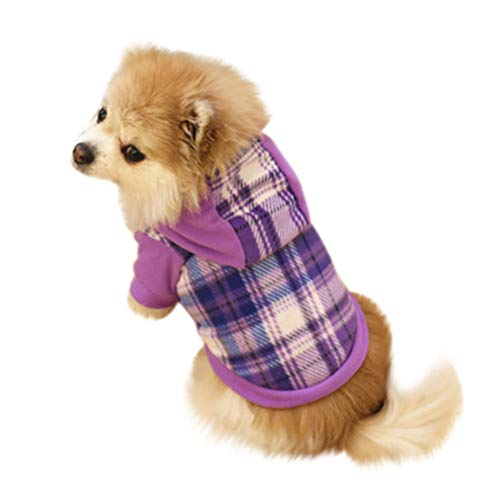 Pet Dog Hoodie Coat,Puppy Warm Cold Weather Fleece Plaid Sweater Shirts Jacket Costume Clothes Apparel Size XS S M L XL (Purple, X-Small) -